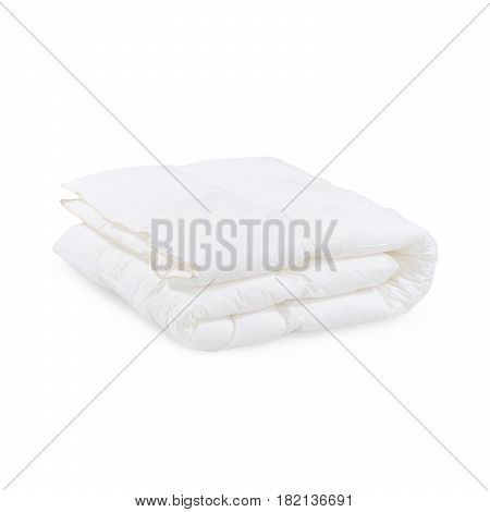 White Soft Blanket Isolated On White Background. Bed Linen