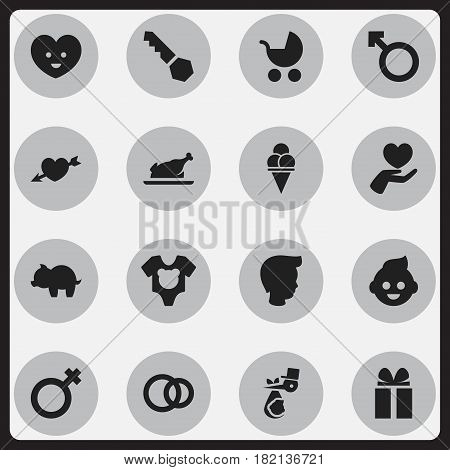 Set Of 16 Editable Kin Icons. Includes Symbols Such As Boy, Heart, Man Emblem And More. Can Be Used For Web, Mobile, UI And Infographic Design.