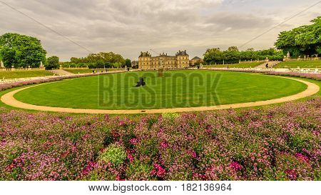Jardin du Luxembourg in a cloudy day, Paris, France