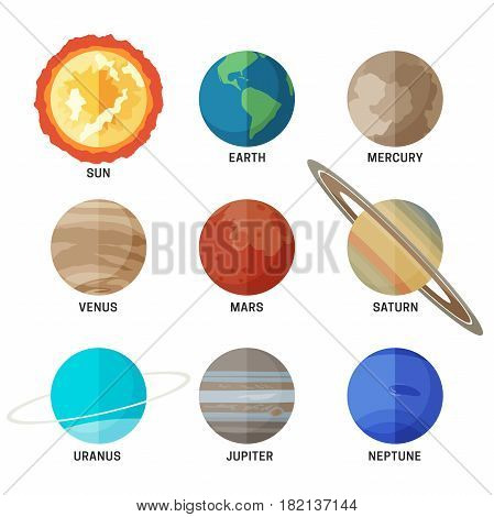 Planets of Solar system. Flat icons set of main planets.