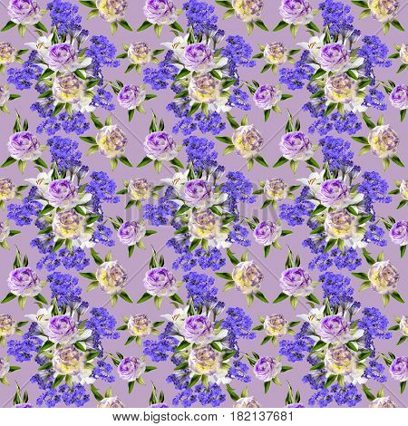 Beautiful floral seamless pattern with bouquets of white lilies two-color eustoma flowers and Greek valerian in victorian style on a pastel background