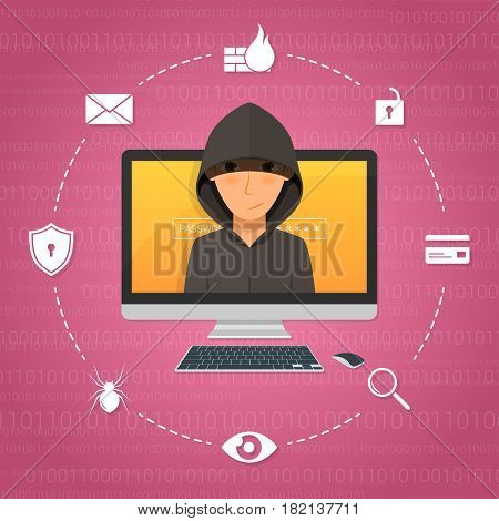 Hacker activity and attack concept. Vector illustration.
