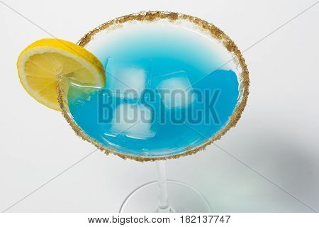 blue curacao cocktail on isolated white background