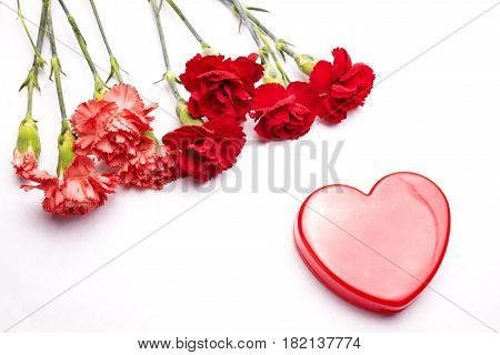 Red heart and carnation flowers on white background