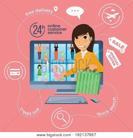 Electronic commerce with online shopping and delivery image with woman shop assistant on computer screen. Vector illustration.