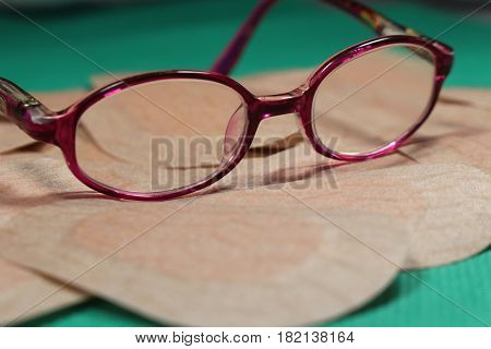 Orthoptic Eye Patch for occlusion therapy with child´s glasses/ These are eye patches for remedial strabismus.