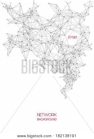 Vector geometric wireframe background with lines connected, molecule metaphor, science technology concept