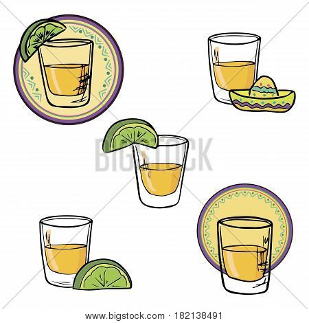 Hand drawn set shot tequila, lime, sombrero sketch vector illustration
