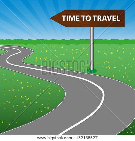 The concept of a time to travel. The road sign is wooden. Arrow. A winding road sunny space a forest and a meadow with flowers. Vector illustration.