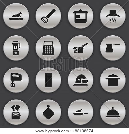 Set Of 16 Editable Cooking Icons. Includes Symbols Such As Husker, Shredder, Pot-Holder And More. Can Be Used For Web, Mobile, UI And Infographic Design.