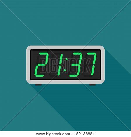 Digital clock in flat style. Simple electronic alarm clock icon.