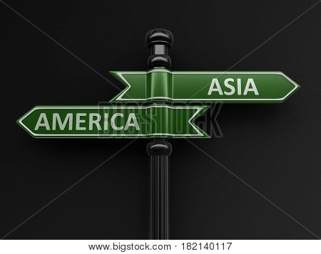 3D Illustration. Asia and America pointers on signpost. Image with clipping path