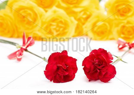 Two red carnation flowers with bow in front of yellow roses