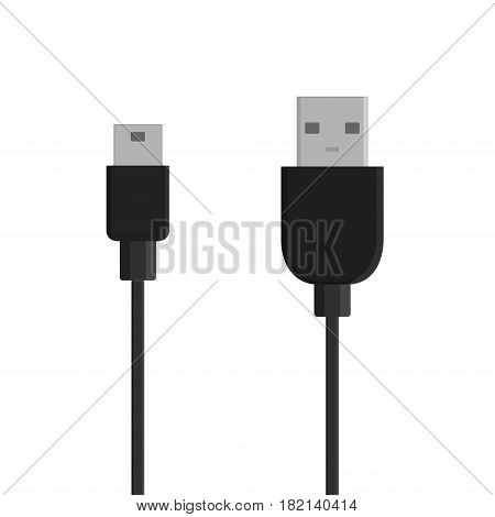 Micro USB cables isolated on white background