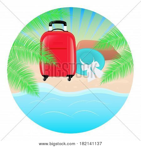 Summer concept round background. Sea landscape palm tree beach hat and red travel bag. Vector illustration.