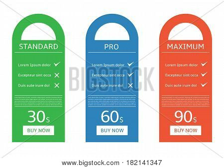 Price chart table over white background. Vector illustration