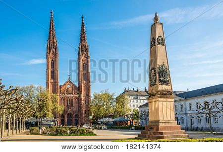 WIESBADEN, GERMANY - APRIL 10,2017 - Church of St.Bonifatius with memorial for Nassauers fallen at the Battle of Waterloo in Wiesbaden. Wiesbaden is one of the oldest spa towns in Europe.