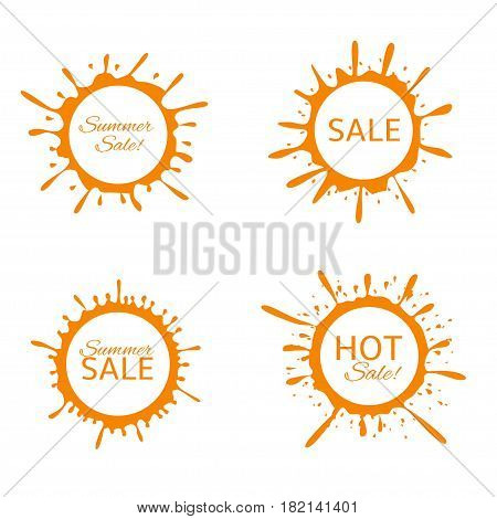 Summer Sale label set. Orange paint splash sun set. Hot sale, big sale, luxury product, original brand labels