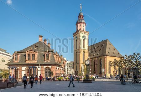 FRANKFURT AM MAIN ,GERMANY - MARCH 30,2017 - Hauptwache with St.Katherine church in Frankfurt am Main. Frankfurt is the major financial centre of the European continent.
