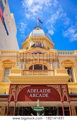 Adelaide Australia - October 25 2016: Famous Adelaide Arcade building with fountain at the front at Rundle Mall on a day
