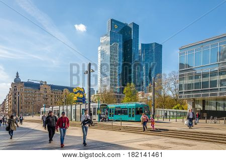 FRANKFURT AM MAIN ,GERMANY - MARCH 30,2017 - At the place of Willy Brandt in Frankfurt am Main. Frankfurt is the major financial centre of the European continent.