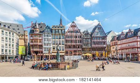 FRANKFURT AM MAIN ,GERMANY - MARCH 30,2017 - View at the timbered houses at the Romerberg in Frankfurt am Main. Frankfurt is the major financial centre of the European continent.