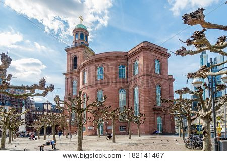 FRANKFURT AM MAIN, GERMANY - MARCH 30,2017 - St.Paul church in Frankfurt am Main. Frankfurt is the major financial centre of the European continent.