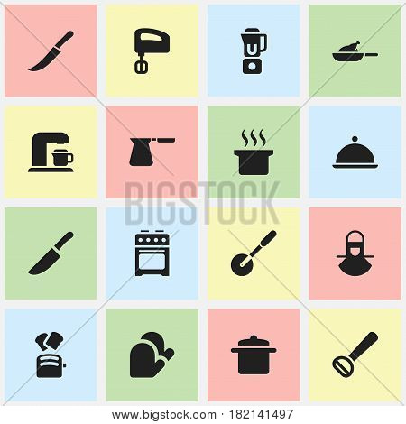 Set Of 16 Editable Meal Icons. Includes Symbols Such As Coffee Pot, Knife Roller, Agitator And More. Can Be Used For Web, Mobile, UI And Infographic Design.