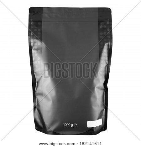 Blank Black Foil Coffee Bag Or Powder Bag Isolated On White Background. Aluminium Coffee Package. Pa