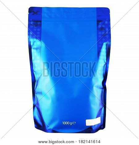 Blank Blue Foil Coffee Bag Or Powder Bag Isolated On White Background. Aluminium Coffee Package. Pac