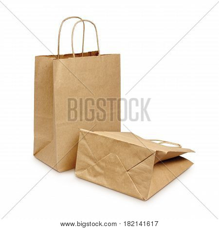 Blank Brown Grocery Kraft Paper Bag Isolated On White Background. Packaging Template Mockup Collecti