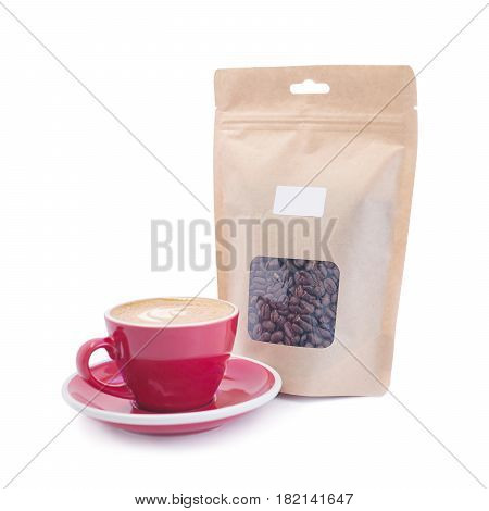 Blank Brown Kraft Paper Coffee Bag With A Red Cup Isolated On White Background. Packaging Template M