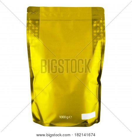 Blank Yellow Foil Coffee Bag Or Powder Bag Isolated On White Background. Aluminium Coffee Package. P
