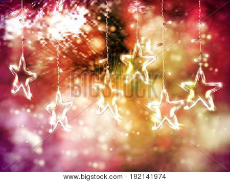 Christmas background of de-focused lights with decorated Glass Stars, Vector illustration