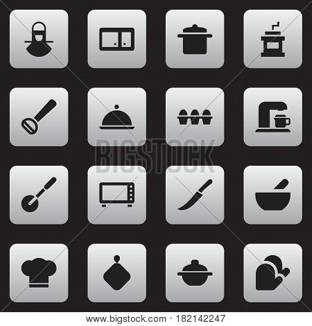 Set Of 16 Editable Meal Icons. Includes Symbols Such As Soup, Sideboard, Rocker Blade And More. Can Be Used For Web, Mobile, UI And Infographic Design.