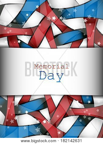 Memorial day vector design over white background. Colorful elements, template for greeting cards. Eps10