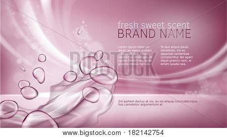 Vector 3D illustration pink poster with watery texture for advertising a moisturizing cosmetic product