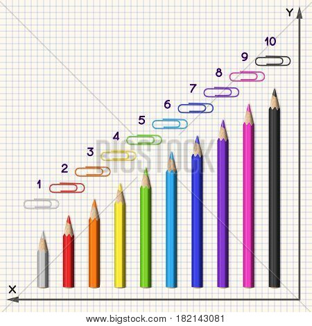 Composition of Pencils and Clips in Form of a Diagram. Set of Colorful Realistic Pencils and Paperclips.