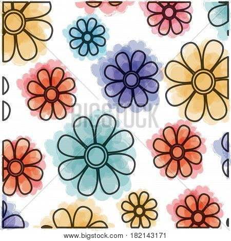 watercolor drawing of decorative pattern flowers design vector illustration