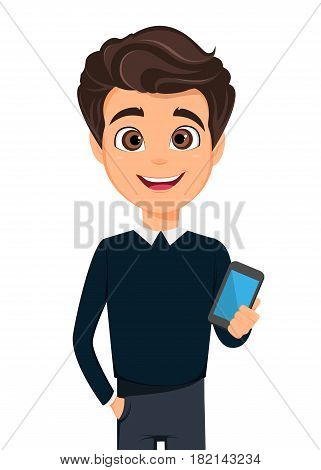 Business man cartoon character. Young handsome businessman in smart casual clothes holding smartphone - stock vector