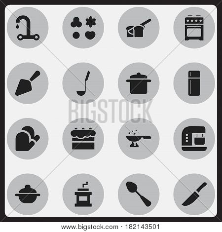 Set Of 16 Editable Cooking Icons. Includes Symbols Such As Tablespoon, Bakery, Kitchen Glove And More. Can Be Used For Web, Mobile, UI And Infographic Design.