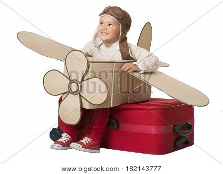 Kid Travel on Toy Airplane Child Sitting on Vacation Suitcase Luggage Fly as Plane Baby playing Pilot