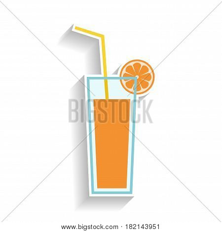 Glass of orange juice with drinking straw. Flat color icon, object of fast food and snack. Illustration of beverage
