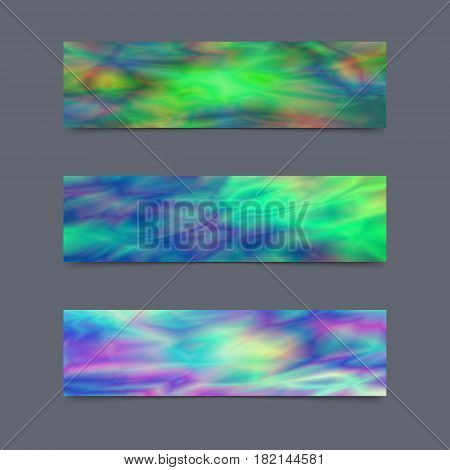 Set of Cards or Banners with Realistic Holographic Effect. Kit of Covers for Banners Stickers Flyers Leaflets.