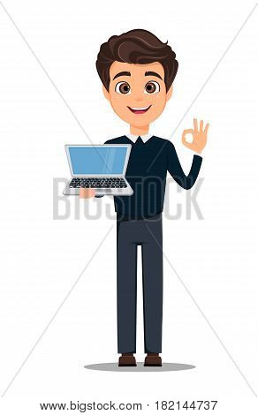 Business man cartoon character. Young handsome smiling businessman in smart casual clothes holding laptop and showing OK gesture - stock vector