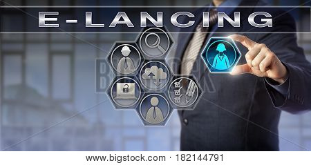 Blue chip corporate coach is plugging in a female freelancer icon into a virtual E-LANCING bidding hub. Information technology concept for outsourcing freelance marketplace and E-labor.