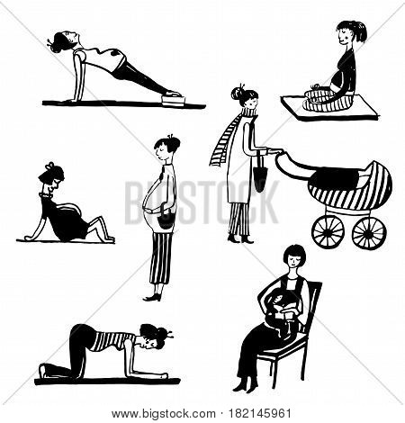 Drawing set of isolated picture of a pregnant womans, a womans with  childrens, sketch hand drawn vector illustration