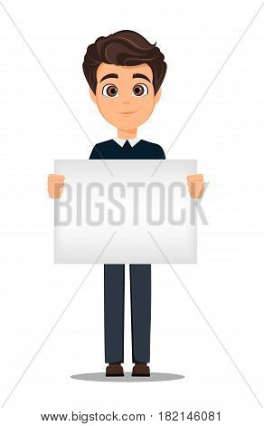Business man cartoon character. Young handsome smiling businessman in smart casual clothes holding blank banner - stock vector