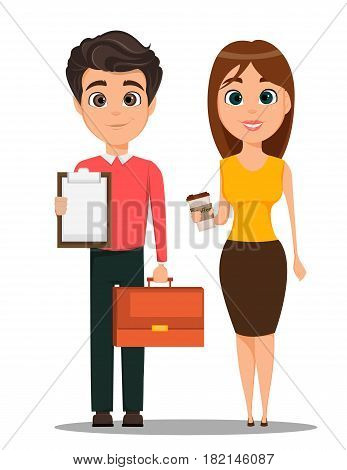 Business man and business woman cartoon characters. Young smiling people in smart casual clothes. Man holding document case in one hand and clipboard in another and woman with hot coffee. Stock vector