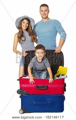 Family Travel Suitcase People and Vacation Luggage Child Sitting on Bag Isolated over White Background